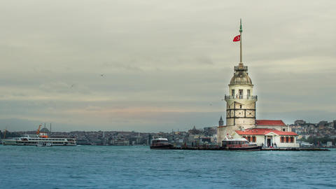 A beautiful timelapse video featuring historic Maiden Tower, the symbol of Istanbul Footage