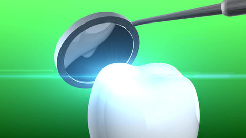 Tooth and dental tool in 3d animation with green background Animation