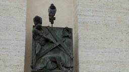 Italy Rome 013 Vatican City two doves on religious relief Footage
