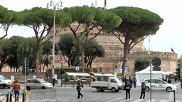 Italy Rome 026 Castle of the Holy Angel behind pine trees Footage