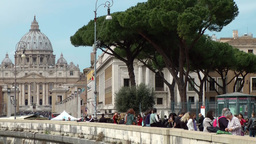 Italy Rome 031 Vatican St. Peter's Basilica & Tiber river quay wall Footage