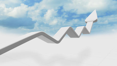 3d graph arrow rises into the clouds Animation