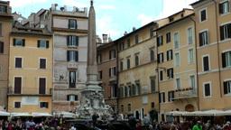 Italy Rome 059 Fontana del Pantheon on Piazza della Rotonda Footage
