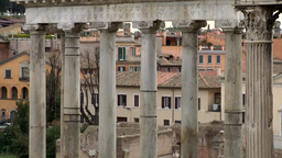 Italy Rome 081 ancient ruins with pillars on Roman Forum Footage