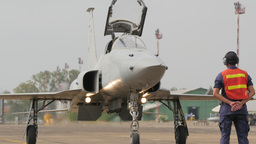 Landed fighter plane lowers nose of plane,Ubon Ratchathani,Thailand Footage