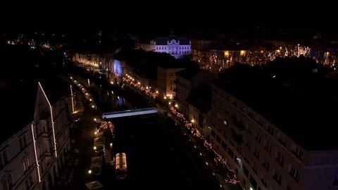 Aerial - Christmas lights Footage