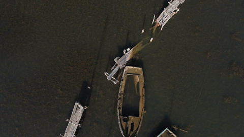 Aerial - Old wooden sank boat Footage