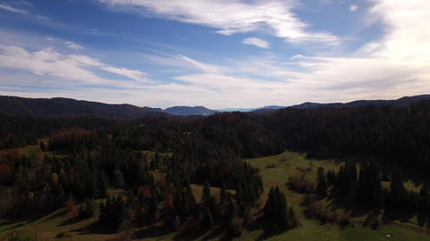 Aerial - Panoramic View Of An Autumn Landscape On Sunny Day stock footage