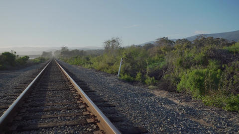 Pan of coast train track near Point Conception State Marine Reserve Footage