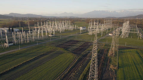 Aerial - Electrical energy facility in a countryside Footage