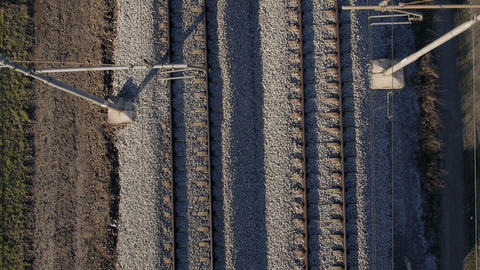 Aerial, vertical - Railway line Live Action