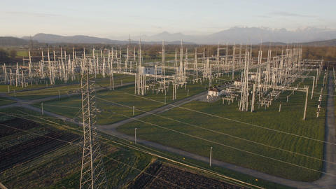Aerial - Electrical energy facility at sunset Footage