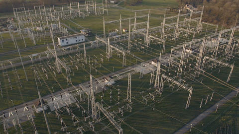 Aerial - Electrical energy facility Footage