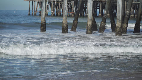 The pilings under the the Santa Monica Pier Footage