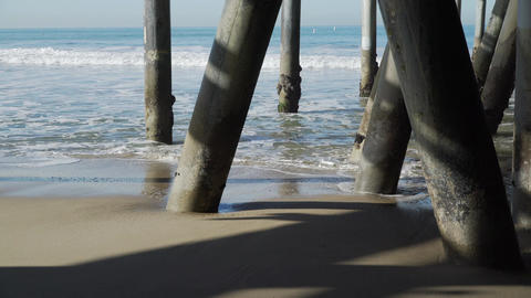 View of the pilings under the Santa Monica Pier Footage