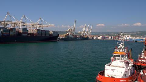 Aerial - Flyover Ships At The Port stock footage