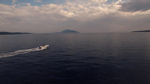 Aerial - Speed boat ride, side view Footage