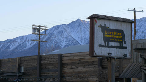 Lone Pine Smoke house in the historic village of Lone Pine - LONE PINE CA, USA - Footage