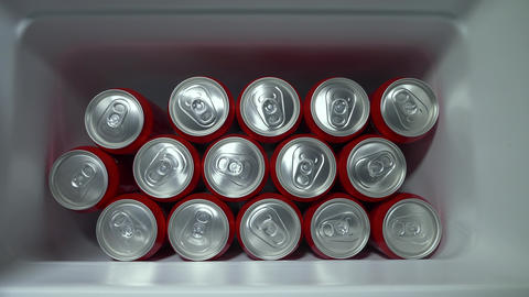 MOSCOW - APRIL 09, 2019: cans with drink one by one disappear from refrigerator Footage