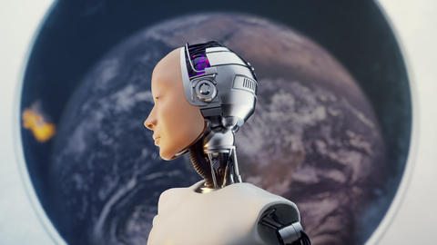 Concept of Futuristic Humanoid Female Portrait Sci-fi in the Style Background 3d Footage
