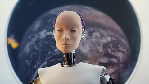 Concept of Futuristic Humanoid Female Portrait Sci-fi in... Stock Video Footage