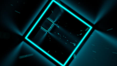 Fast flying through 3D cyan cube neon tunnel Animación