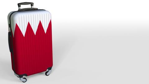 Traveler's suitcase with flag of Bahrain. Bahraini tourism conceptual 3D Footage