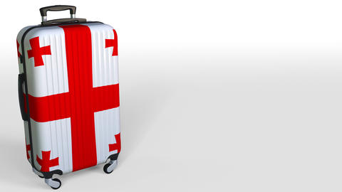 Traveler's suitcase with flag of Georgia. Georgian tourism conceptual 3D Live Action