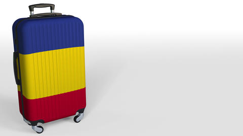 Traveler's suitcase with flag of Romania. Romanian tourism conceptual 3D Live Action