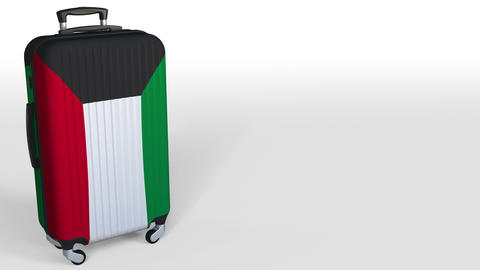 Traveler's suitcase with flag of Kuwait. Kuwaiti tourism conceptual 3D animation Live Action