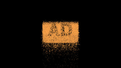 Symbol audio description appears from crumbling sand. Then crumbles down. Alpha channel Animation