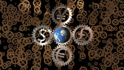 Seamless Loop illustrating a world trade concept with different currency gears driving a rotating Animation