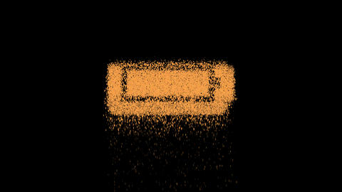 Symbol battery full appears from crumbling sand. Then crumbles down. Alpha channel Premultiplied - Animation