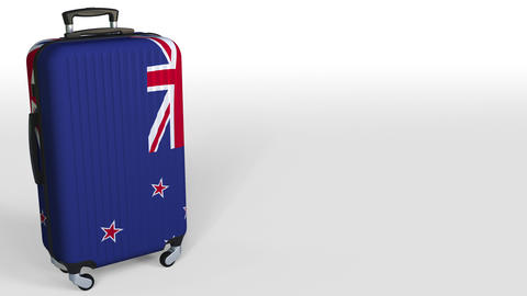Traveler's suitcase with flag of New Zealand. Tourism conceptual 3D animation Live Action