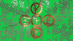 Seamless Loop illustrating a world trade concept with different currency gears Animation