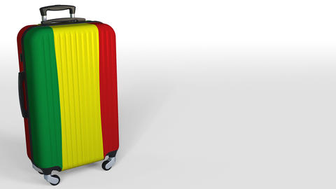 Traveler's suitcase with flag of Bolivia. Bolivian tourism conceptual 3D Footage