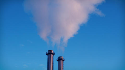 Smoking factory chimneys. Environmental problem of pollution Archivo