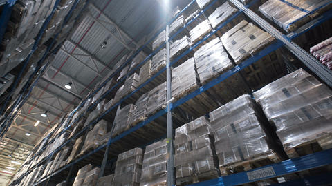 big factory warehouse. store Aisles. Camera travels inside a large store Live Action