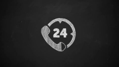hand drawing of 24 phone support symbol with white chalk on blackboard Animation