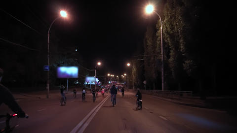 Bicycle night parade Footage