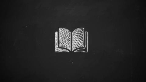hand drawing of book symbol with white chalk on blackboard Animation