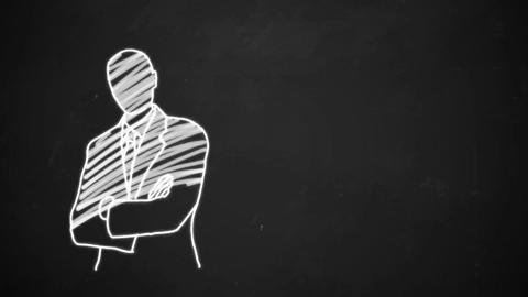 hand drawing line art showing business man with white chalk on blackboard Animation