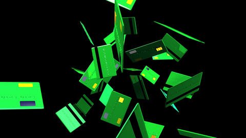 Green Credit cards on black background Stock Video Footage