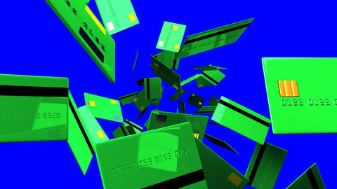 Green Credit cards on blue chroma key Stock Video Footage