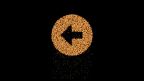Symbol arrow circle left appears from crumbling sand. Then crumbles down. Alpha channel Animation