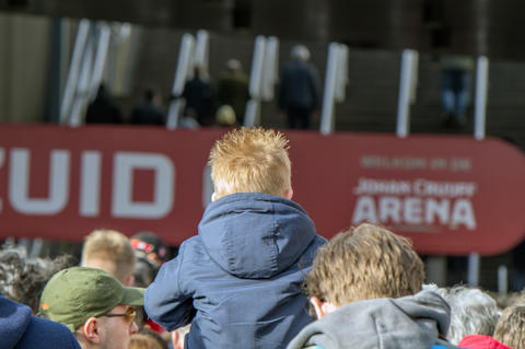 Young Boy On The Shoulders Of His Father Before The Ajax Match At Amsterdam The Netherlands 2019 フォト