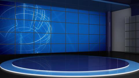 News TV Studio Set 309- Virtual Green Screen Background Loop Footage