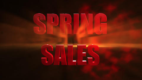 3D Spring sale text animated against red gradient background Animation