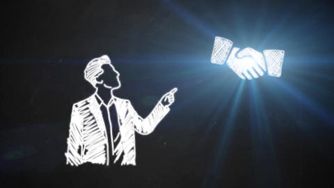 hand drawing line art showing shake hands symbols with white chalk on blackboard Animation