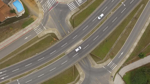 Fly Above a Road Intersection Footage
